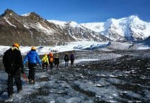 Hikers on Iceland's Skaftafell glacier in Vatnajökull National Park