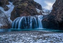 Bruarfoss with snow in Iceland in April