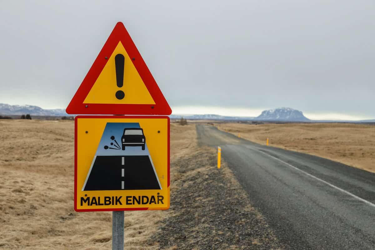 Special Iceland road sign Malbik endar