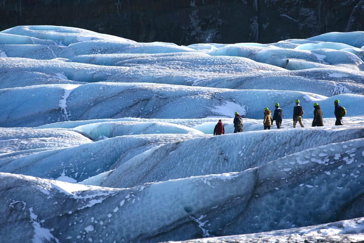 Hikers on Skaftafell glacier