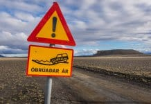 Óbrúadar ár is a special road sign in Iceland