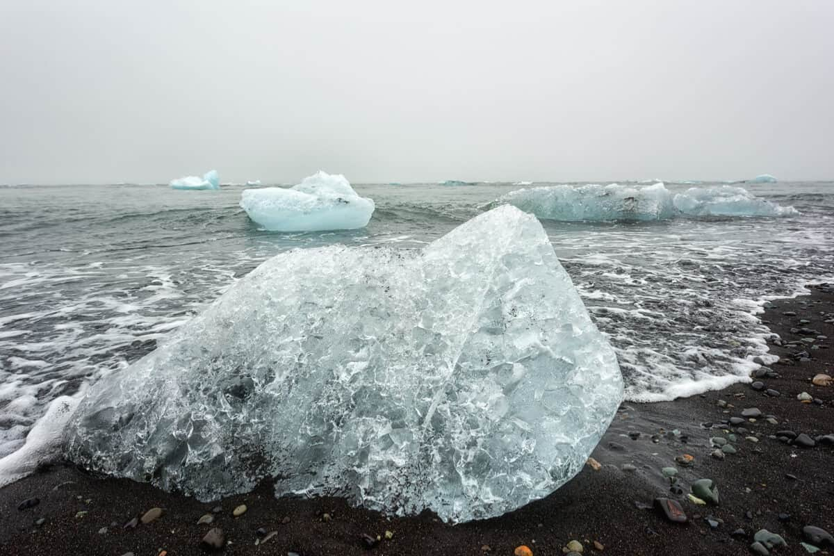 The Diamond Beach in Iceland iceberg