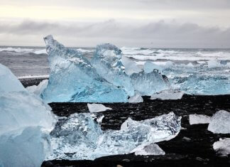 The Diamond Beach in Iceland chunks of ice