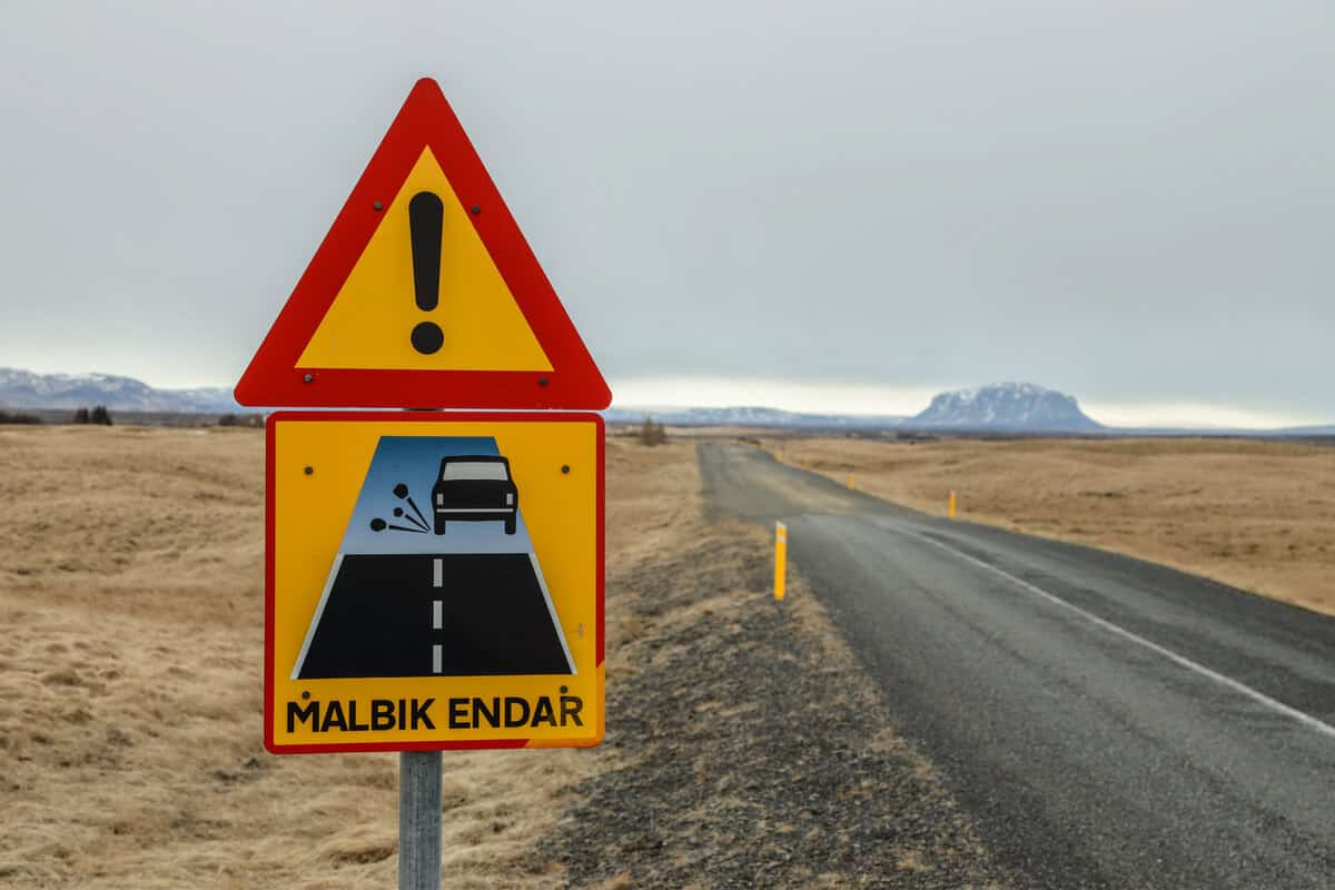 Iceland driving safety Malbik Endar change from paved to gravel