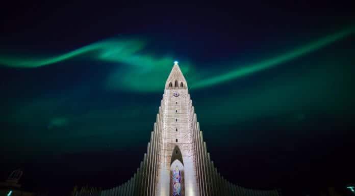 Does Iceland get polar nights? Reykjavik church Northern Lights