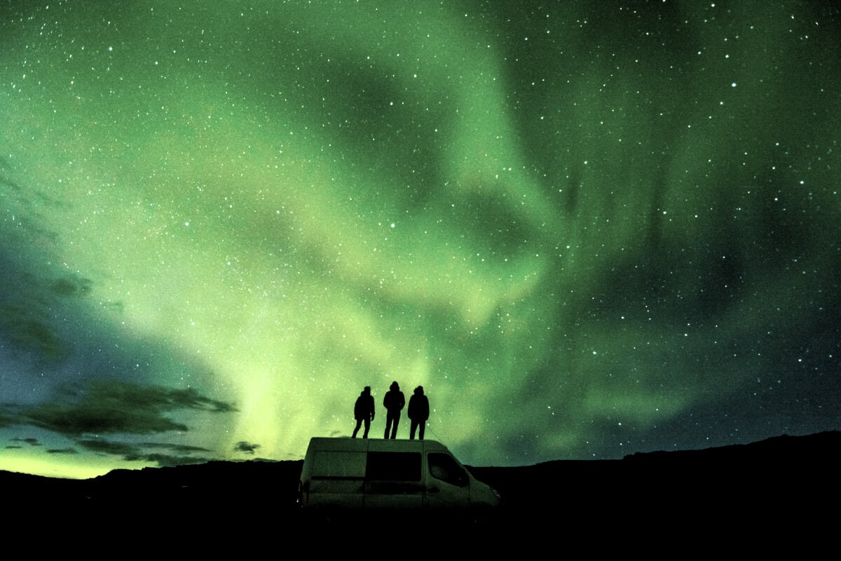 Iceland Northern Lights tour with friends in a camper rental