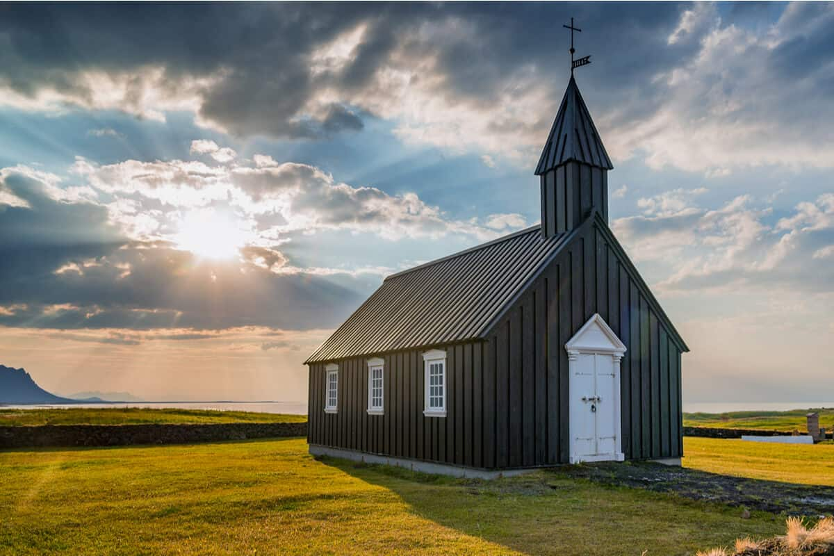 The black Budir church is one of the prettiest churches in Iceland