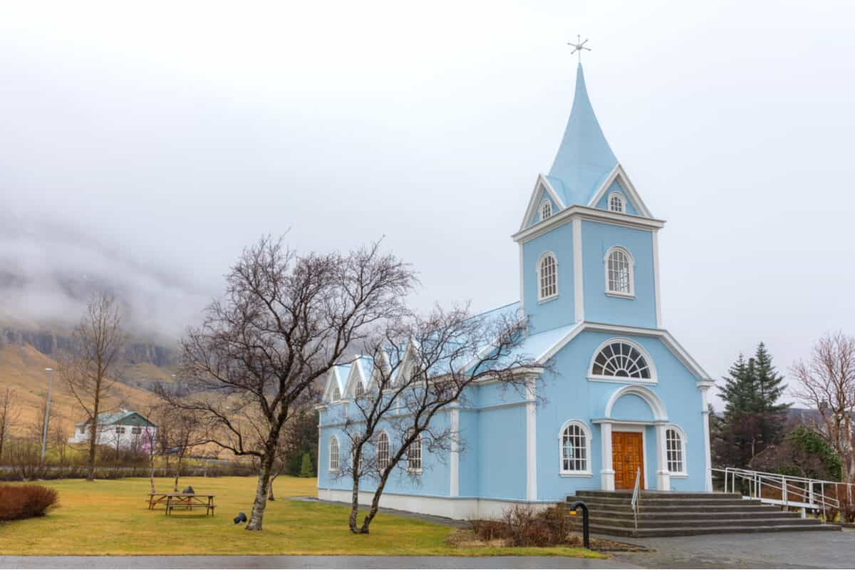 The blue church in Seydisfjordur in one of the prettiest churches in Iceland