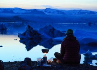 Camping near Jokulsarlon glacier lagoon