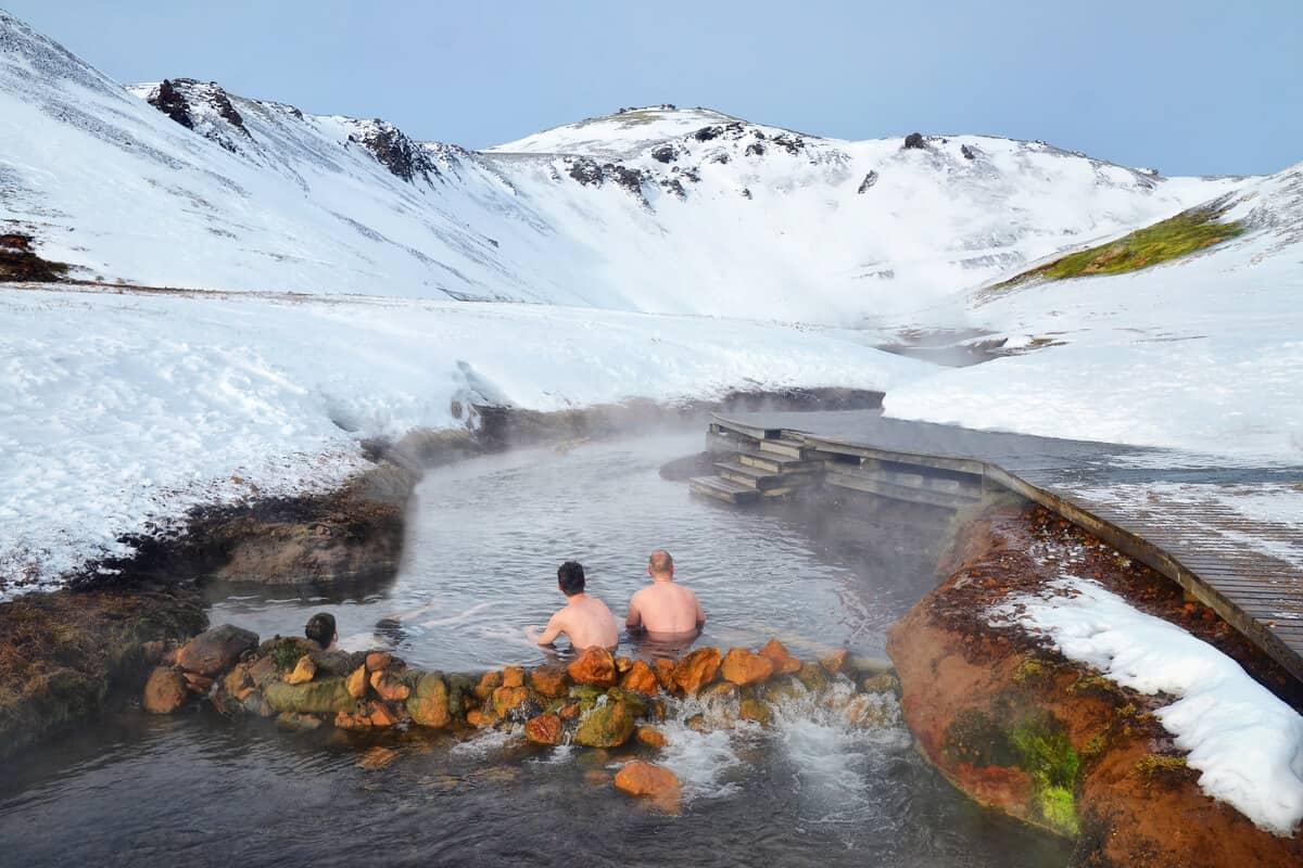 Reykjadalur hot springs in the winter