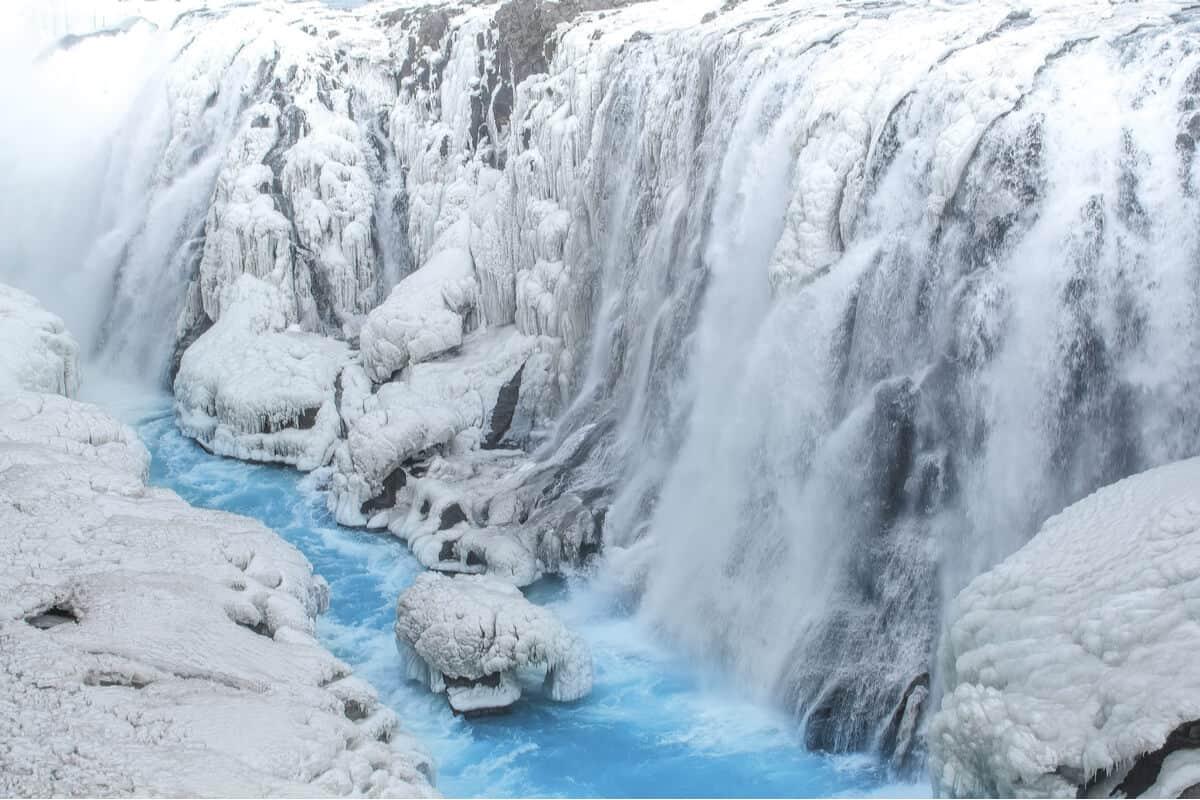 Gullfoss waterfall Iceland frozen