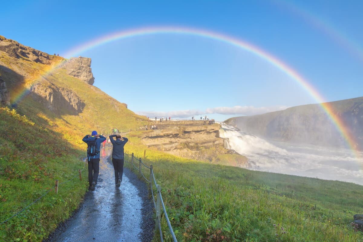 Gullfoss waterfall Iceland rainbow