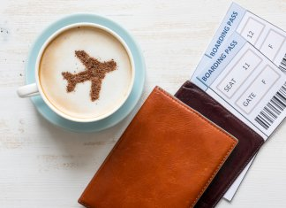 Coffee with plane outline and cheap plane tickets
