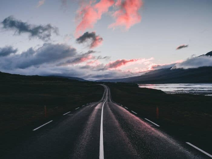 Iceland Ring Road at dawn with a pinkish sky