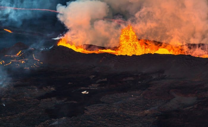 One of Iceland's volcanoes erupting