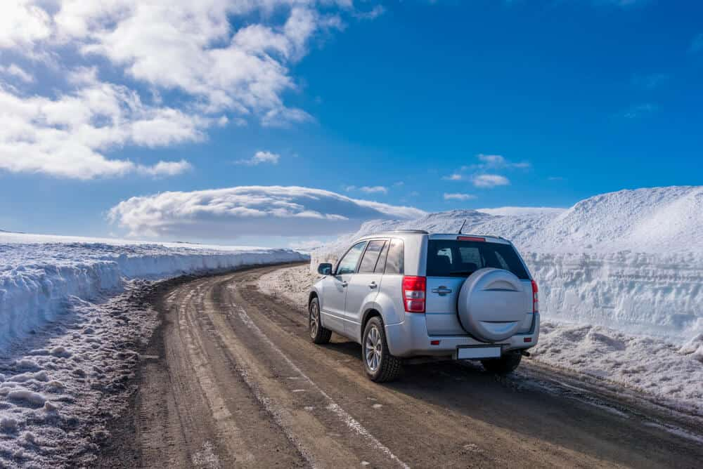 Snow on the Iceland's Ring Road on a winter's day