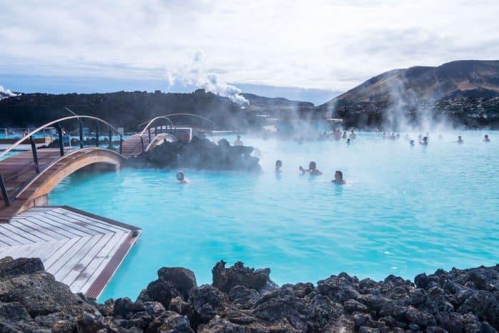 Blue Lagoon bathers enjoying proper etiquette
