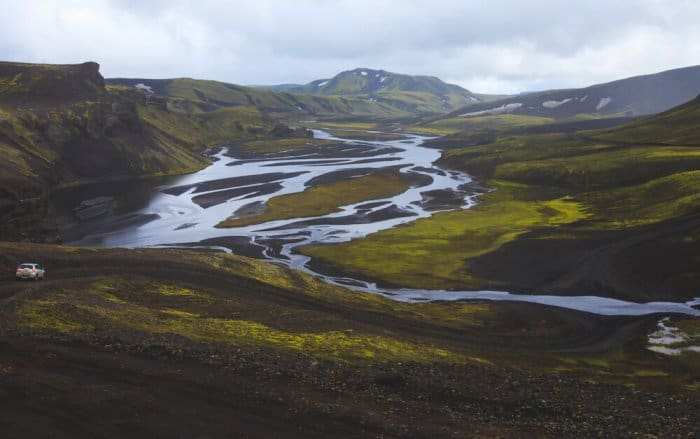 The highlands of Iceland from a panoramic view