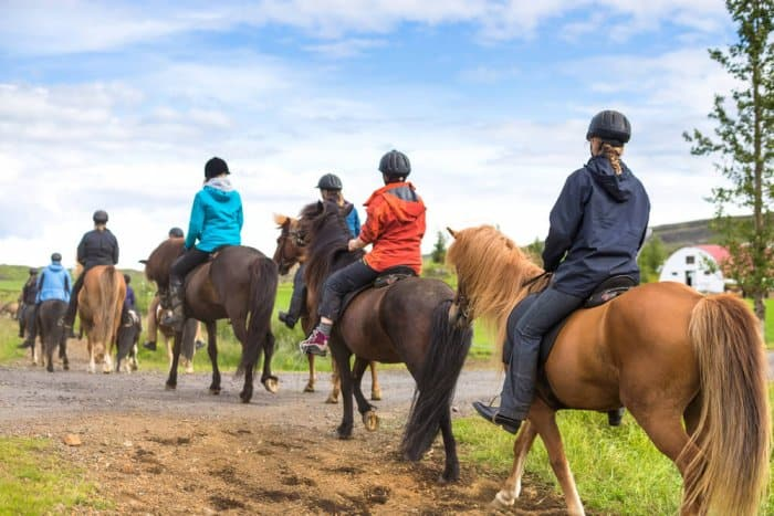 Group of tourist in a horseriding tour with Icelandic horses