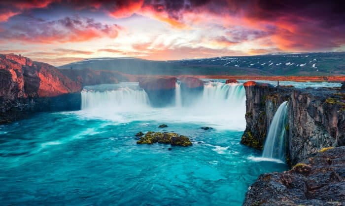 Visiting the spectacular Godafoss waterfall is one of the best things to do in Iceland
