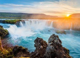 Iceland's beautiful Godafoss waterfall at sunset