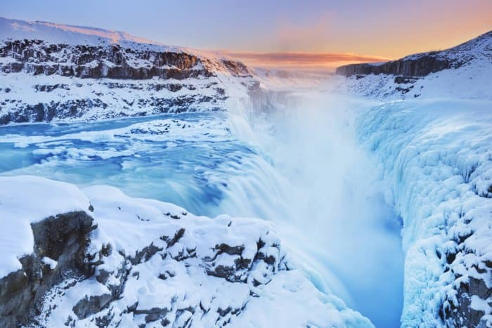 Semi-frozen Gullfoss waterfall in Iceland during January and February