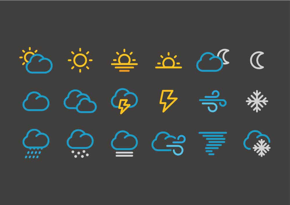 Iceland weather icons on black background