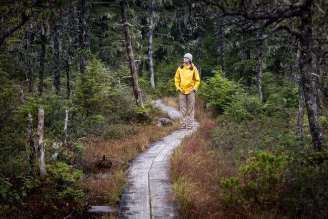 Woman walking in Iceland in yellow rain jacket