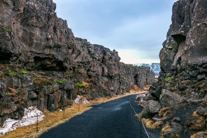 Hike between tectonic plates at Thingvellir National Parkl