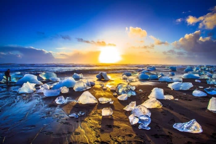 Diamond beach in south iceland is a great stop for a 7-Day Ring Road Itinerary