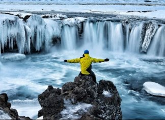 Impressive views of Godafoss waterfall in Iceland