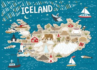 Where are the regions of Iceland on a map?