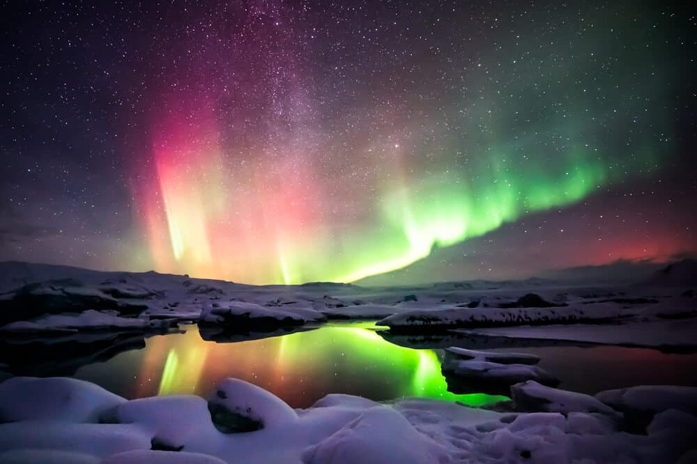 The Northern Lights are visible in Iceland starting in mid-September