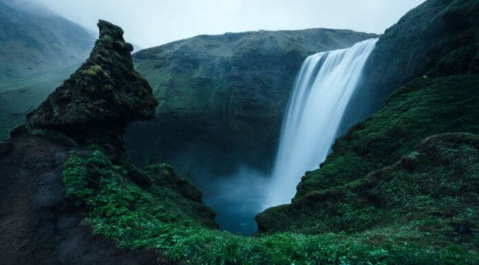 Skogafoss falls are a popular stop on Iceland's southern Ring Road route