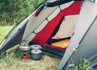 Rental tent for four people with camping stove and pots in Iceland