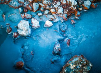 Colorful, bubbling mud and rocks in Hverir in Iceland's Diamond Circle