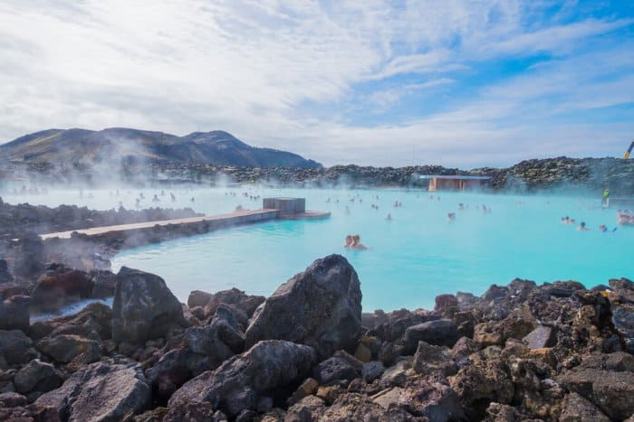 Bathers in Iceland's Blue Lagoon. How long does it take to drive there from Reykjavik?