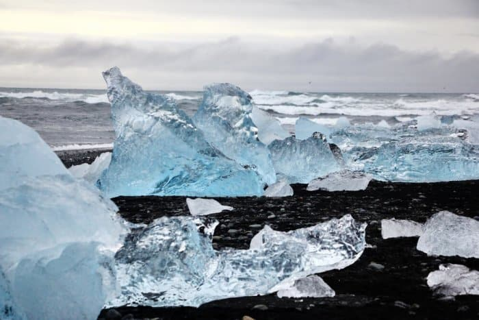 Mini icebergs on Iceland's Diamond Beach, about 4-7 hours driving from Reykjavik