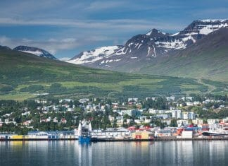View of Akureyri and glacier from the bay