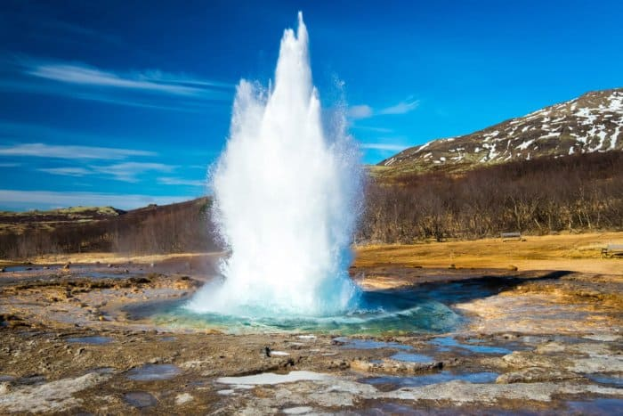 A geyser on Iceland's Golden Circle route