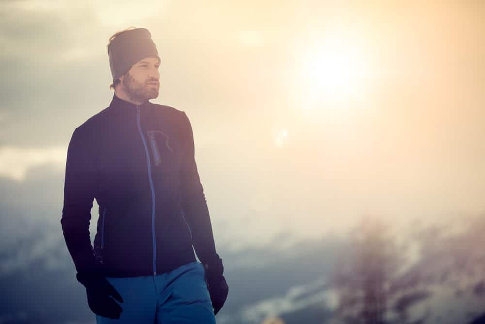 Man in cold environment with ski clothing