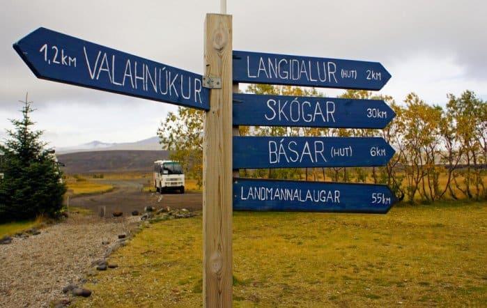 Blue wooden sign on the Laugavegur Trail in Landmannalaugar