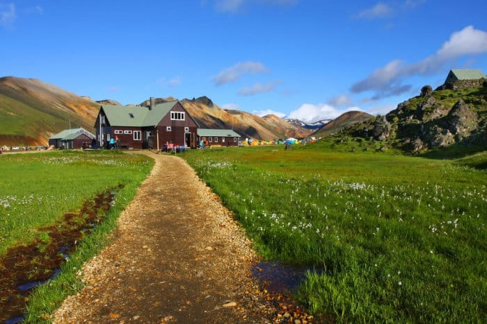 Typical Icelandic mountain huts in the Highlands along the Laugavegur Trail