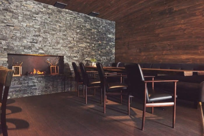 Interior of restaurant with fireplace