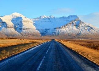 Road leading to Snaefellsjökull glacier in Snaefellsnes peninsula