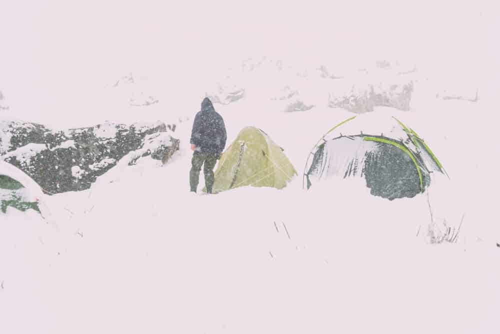 Tent campers after snowstorm in Iceland