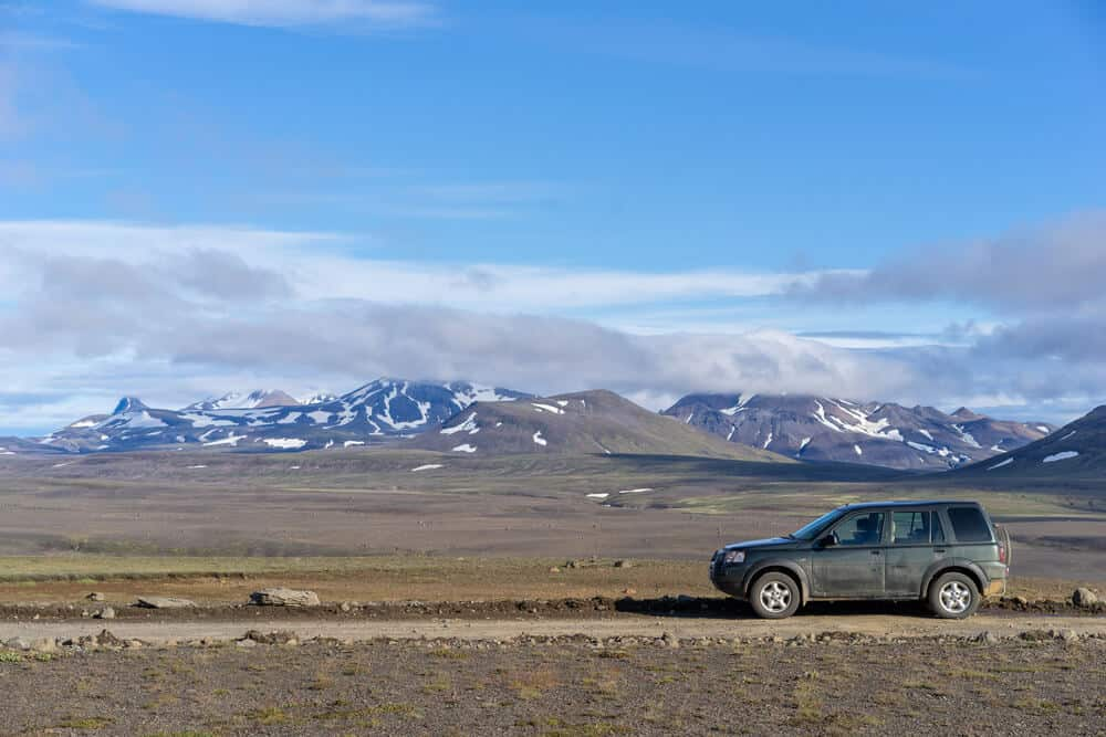 4x4 vehicle on F35 mountain road through central part of Icelandic Highlands to Hveravellir.