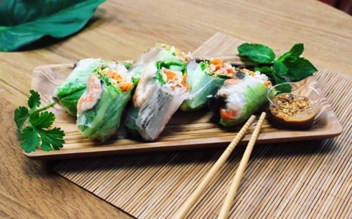 Delicious rice paper rolls at Hlemmur food hall