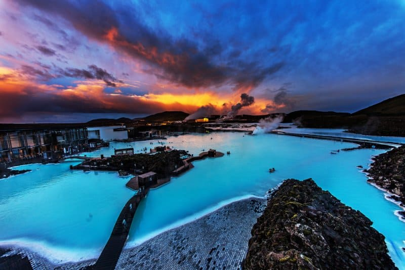 Iceland's most famous hot pot the Blue Lagoon at the sunset