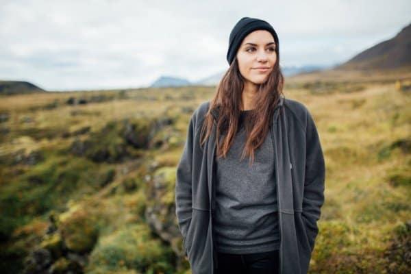 Icelandic woman thinking about Thetta reddast philosophy